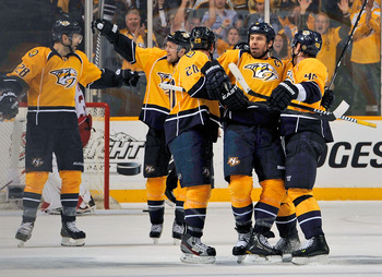 Shea Weber (center) of the Nashville Predators.