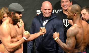 Manuwa (right) stares down UFC on Fuel TV 5 opponent Kyle Kingsbury (MMA Junkie)