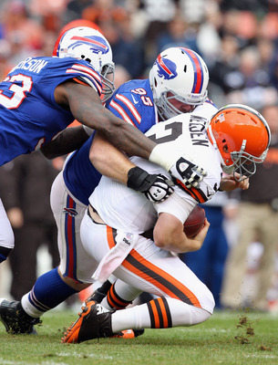 Weeden was sacked by every member of the Bills starting defensive line.