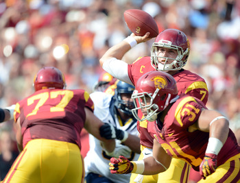 Matt Barkley attempts a pass against Cal