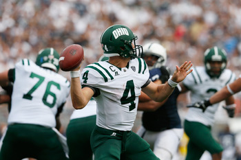 STATE COLLEGE, PA - SEPTEMBER 01:  Quarterback Tyler Tettleton #4 of the Ohio Bobcats passes the ball against the Penn State Nittany Lions during the second half at Beaver Stadium on September 1, 2012 in State College, Pennsylvania.  (Photo by Rob Carr/Ge