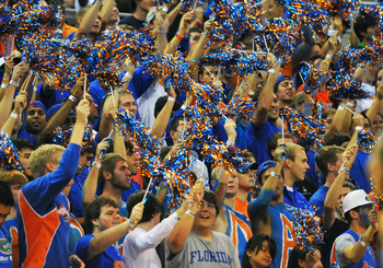 GAINESVILLE, FL - NOVEMBER 16: Fans of the Florida Gators cheers  play against the Ohio State Buckeyes November 16, 2010 at the Stephen C. O'Connell Center in Gainesville, Florida.  (Photo by Al Messerschmidt/Getty Images)