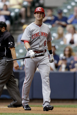 MILWAUKEE, WI - AUGUST 07: Drew Stubbs #6 of the Cincinnati Reds walks to the dugout after striking out in the top of the 1st inning against the Milwaukee Brewers at Miller Park on August 07, 2012 in Milwaukee, Wisconsin. (Photo by Mike McGinnis/Getty Ima