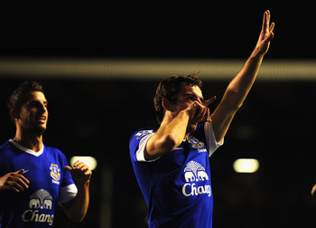 LIVERPOOL, ENGLAND - SEPTEMBER 17:  Everton player Leighton Baines celebrates the first goal during the Premier League match between Everton and Newcastle United at Goodison Park on September 17, 2012 in Liverpool, England.  (Photo by Stu Forster/Getty Im