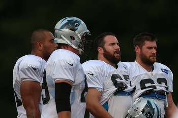 Amini Silatolu, Jordan Gross, Ryan Kalil and Geoff Hangartner. Photo by Jim Dedmon/Icon SMI