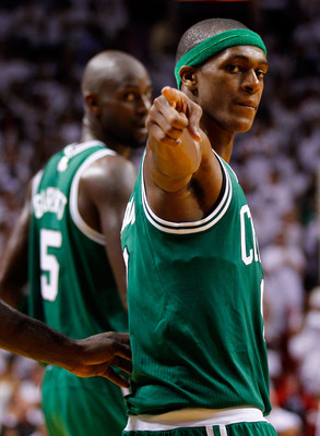 Rajon Rondo (front) and Kevin Garnett