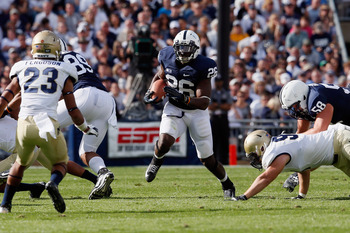 STATE COLLEGE, PA - SEPTEMBER 15: Running back Curtis Dukes #26 of the Penn State Nittany Lions rushes the ball against the Navy Midshipmen during the second half at Beaver Stadium on September 15, 2012 in State College, Pennsylvania.  (Photo by Rob Carr/