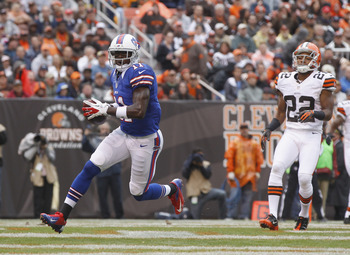 Skrine watches rookie Bills receiver T.J. Graham waltz into the end zone on a 9-yard TD pass play