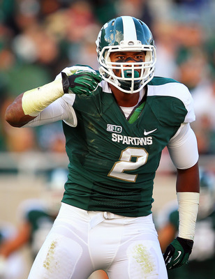 September 22, 2012; East Lansing, MI, USA; Michigan State Spartans defensive end William Gholston (2) celebrates after fumble recovery against the Eastern Michigan Eagles during 2nd half of a game at Spartan Stadium.  MSU won 23-7.  Mandatory Credit: Mike