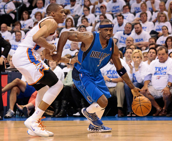OKLAHOMA CITY, OK - APRIL 30:  Jason Terry #31 of the Dallas Mavericks drives on Russell Westbrook #0 of the Oklahoma City Thunder in Game Two of the Western Conference Quarterfinals in the 2012 NBA Playoffs on April 30, 2012 at the Chesapeake Energy Aren