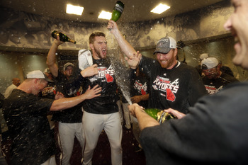 The Braves will be celebrating in similar fashion at the Cardinals' expense.