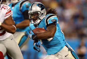CHARLOTTE, NC - SEPTEMBER 20:  DeAngelo Williams #34 of the Carolina Panthers during their game at Bank of America Stadium on September 20, 2012 in Charlotte, North Carolina.  (Photo by Streeter Lecka/Getty Images)