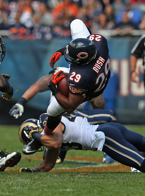 Bush is only averaging 50 yards a game rushing in Matt Forte's absence.