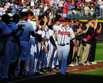 ATLANTA, GA - OCTOBER 5: Craig Kimbrel #46 of the Atlanta Braves is introduced before the National League Wild Card Game against the St. Louis Cardinals at Turner Field on October 5, 2012 in Atlanta, Georgia. (Photo by Scott Cunningham/Getty Images)