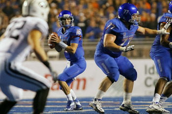 BOISE, ID - SEPTEMBER 20:  Joe Southwick #16 of the Boise State Broncos looks for a receiver against the BYU Cougars at Bronco Stadium on September 20, 2012 in Boise, Idaho.  (Photo by Otto Kitsinger III/Getty Images)