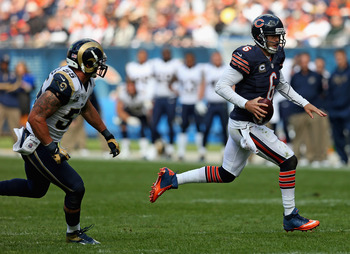 Cutler's tendency to hold onto the ball can make it tough on his offensive line.
