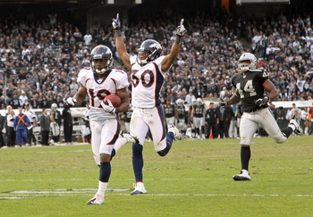The Broncos had two returns for touchdowns against Oakland in 2011