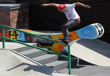 LOS ANGELES, CA - JULY 01:  Paul Rodriguez competes in the men's Skateboard Street final during day four of X Games 18 at L.A. LIVE on July 1, 2012 in Los Angeles, California.  (Photo by Jeff Gross/Getty Images)