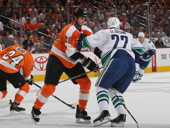 PHILADELPHIA, PA - OCTOBER 12:  Chris Pronger #20 of the Philadelphia Flyers skates against the Vancouver Canucks at the Wells Fargo Center on October 12, 2011 in Philadelphia, Pennsylvania. The Flyers defeated the Canucks 5-4.  (Photo by Bruce Bennett/Ge