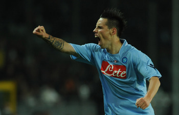 TURIN, ITALY - OCTOBER 31:  Marek Hamsik of SSC Napoli celebrates his first goal during the Serie A match between Juventus FC and SSC Napoli at Olimpico Stadium on October 31, 2009 in Turin, Italy.  (Photo by Valerio Pennicino/Getty Images)
