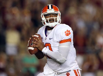 TALLAHASSEE, FL - SEPTEMBER 22:  Tajh Boyd #10 of the Clemson Tigers during their game at Doak Campbell Stadium on September 22, 2012 in Tallahassee, Florida.  (Photo by Streeter Lecka/Getty Images)