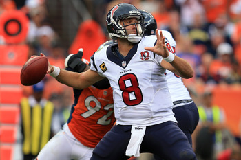DENVER, CO - SEPTEMBER 23:  Quarterback Matt Schaub #8 of the Houston Texans delivers a pass against the Denver Broncos at Sports Authority Field at Mile High on September 23, 2012 in Denver, Colorado. The Texans defeated the Broncos 35-28.  (Photo by Dou