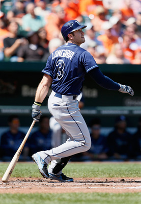 BALTIMORE, MD - SEPTEMBER 13: Evan Longoria #3 of the Tampa Bay Rays follows his second inning fly out to the Baltimore Orioles at Oriole Park at Camden Yards on September 13, 2012 in Baltimore, Maryland.  (Photo by Rob Carr/Getty Images)