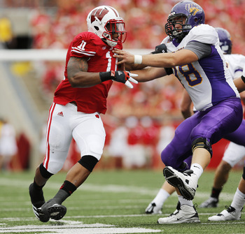 Badgers junior defensive end David Gilbert has 14 tackles, 2.5 tackles for loss and a sack this season.