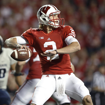 Wisconsin freshman quarterback Joel Stave was 14 of 23 with 225 yards, a touchdown and a pick in first career start last week vs. UTEP.