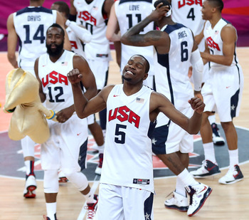 LONDON, ENGLAND - AUGUST 12:  Kevin Durant #5 of the United States celebrates winning the Men's Basketball gold medal game between the United States and Spain on Day 16 of the London 2012 Olympics Games at North Greenwich Arena on August 12, 2012 in Londo