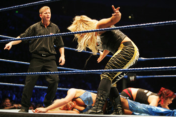 SYDNEY, AUSTRALIA - JUNE 15:  Natalya yells at Kelly Kelly during WWE Smackdown at Acer Arena on June 15, 2008 in Sydney, Australia.  (Photo by Gaye Gerard/Getty Images)