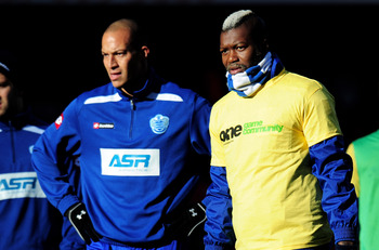 LONDON, ENGLAND - OCTOBER 27:  (R-L) Djibril Cisse, Boby Zamora and Adel Tarrabt of QPR warm  up prior to kickoff during the Barclays Premier League match between Arsenal and QPR at The Emirates Stadium on October 27, 2012 in London, England.  (Photo by S