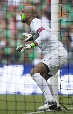 "A laser light being shot into Tim Howard's eye during August's ""friendly"" at Estadio Azteca"