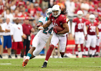 Larry Fitzgerald leads Arizona in receptions and yards.
