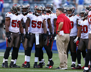 Head coach Greg Schiano coaching the Bucs' young defense.