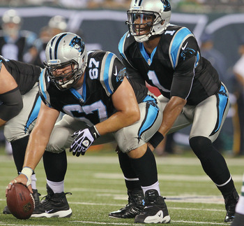 Ryan Kalil (67) anchors the Panthers' offensive line.
