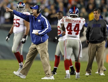 Sep 30, Philadelphia, PA, USA; New York Giants head coach Tom Coughlin during the game against the Philadelphia Eagles at Lincoln Financial Field.  Mandatory Credit: Chris Faytok/THE STAR-LEDGER via US PRESSWIRE