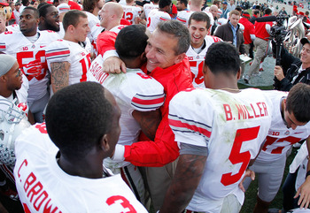 Meyer brought home a win in his first Big Ten matchup as coach of the Buckeyes.