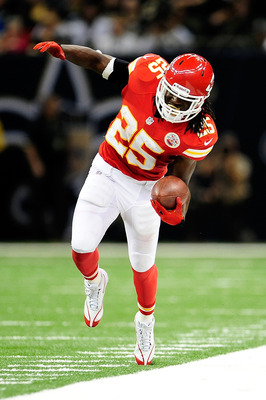 NEW ORLEANS, LA - SEPTEMBER 23:  Jamaal Charles #25 of the Kansas City Chiefs tries to stay in bounds against the New Orleans Saints during a game at the Mercedes-Benz Superdome on September 23, 2012 in New Orleans, Louisiana.  (Photo by Stacy Revere/Gett