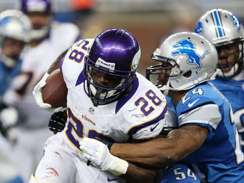 Adrian Peterson rushed for 102 yards on 21 carries Sunday. It was his first time reaching 100 yards since Oct. 23, 2011.