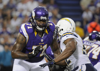Phil Loadholt struggled to protect Christian Ponder's front side in Week 4.
