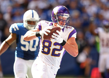 Kyle Rudolph caught two passes for eight yards against the Detroit Lions in Week 4.