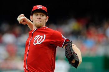 Stephen Strasburg pitches against the St. Louis Cardinals on Sept. 2