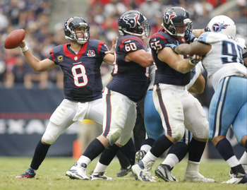 Sep 30, 2012; Houston, TX, USA; Houston Texans quarterback Matt Schaub (8) throws a pass against the Tennessee Titans in the third quarter at Reliant Stadium. The Texans defeated the Titans 38-14. Mandatory Credit: Brett Davis-US PRESSWIRE