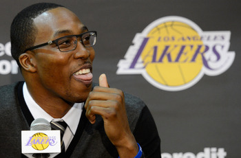 EL SEGUNDO, CA - AUGUST 10:  Dwight Howard speaks after being introduced to the media as the newest member of the Los Angeles Lakers during a news conference at the Toyota Sports Center on August 10, 2012 in El Segundo, California. The Lakers aquired Howa