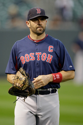 Varitek in one of his last games as a Red Sox player