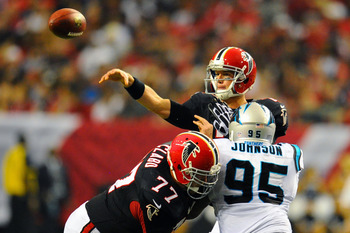 Charles Johnson (95) had the best game of his career in Week 4, sacking Falcons' QB Matt Ryan 3.5 times.