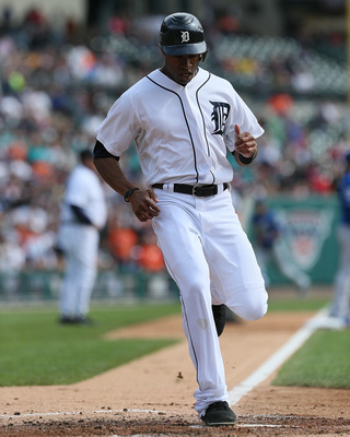 Austin Jackson crossing home in a game against the Royals Sept. 27.
