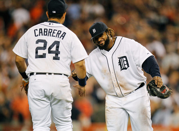 Cabrera and Fielder celebrating a victory over the White Sox Sept. 2.