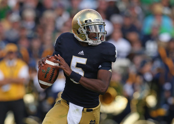 Sophomore Everett Golson has looked promising at times but has been replaced by backup Tommy Rees in some key moments.